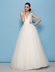 Lan Ting A-line/Princess Wedding Dress - Ivory Floor-length Scoop Lace / Tulle
