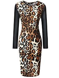 Women's Sexy Bodycon Casual Party Night Club Leopard Print Long Sleeve Slim Dress