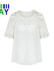 Damen Solide Einfach Lässig/Alltäglich T-shirt,V-Ausschnitt / Rundhalsausschnitt Sommer Kurzarm Weiß / Schwarz / Gelb Dünn