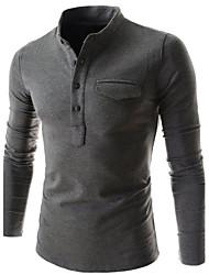 Camisetas ( Algodón Compuesto )- Casual Soporte Manga Larga para Hombre