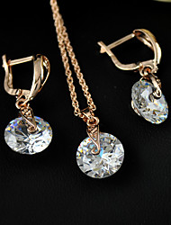 Women's fanshion Jewelry set of  high-end fashion zircon earrings necklace set super flash large zircon