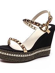 Women's Shoes  Wedge Heel Wedges Sandals Outdoor/Casual Black/Gold