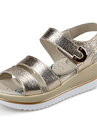 Women's Shoes Leather Wedge Heel Comfort Sandals Outdoor/Dress/Casual Black/Silver/Gold