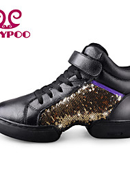 Non Customizable Women's Dance Shoes Dance Sneakers/Modern Leather Chunky Heel Black/Gold