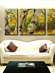 peinture à l'huile décoration paysage abstrait main toile peinte avec étiré encadrée - ensemble de 3