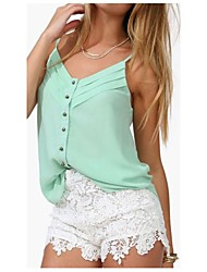 Women's Plus Size Solid Blue/Pink/White/Green/Orange Vest,Sexy/Party Strap Sleeveless Layered