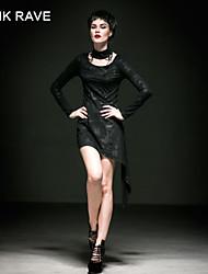 punk do q-241 do vintage das mulheres / vestido de manga longa delírio sexy micro-elástica na altura do joelho (spandex)