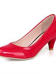 DamenBüro Kleid Lässig-Kunststoff-Kitten Heel-Absatz-Pumps-Schwarz Rot Beige