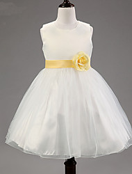 A-line Knee-length Flower Girl Dress - Cotton / Tulle / Polyester Sleeveless Jewel with Flower(s) / Sash / Ribbon