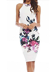 ZH Women's Sexy/Party Round Sleeveless Dresses (Cotton Blend)