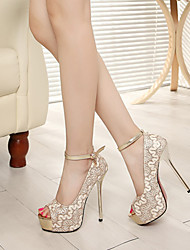 Women's Shoes  Stiletto Heel Peep Toe Sandals Outdoor/Casual Silver/Gold