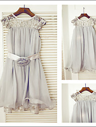 Flower Girl Tea-length A-line Jewel Dress