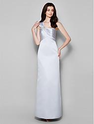 Floor-length Satin Bridesmaid Dress - Silver Sheath/Column One Shoulder