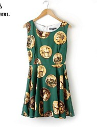 LIVAGIRL®Women's Dress Fashion Green Vintage Gold Coin Print Dress Europe Style Casual Bodycon Party Dress