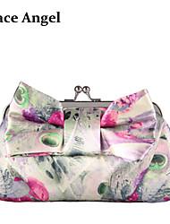 Women's Floral Satin Bow Bridal Bridesmaid Clutch Evening Party Handbag