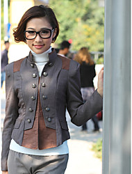 Women's Solid Brown/Gray Blouse , Stand Long Sleeve Button