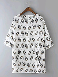 Women's Summer Casual/Character Print Inelastic ½ Length Sleeve Regular Loose Blouse Shirts(Chiffon)