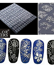 1x 108 PCS  3D Silver Flower  Nail Art Stickers