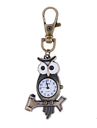 Hot Sale Vintage Antique Style Vivid Owl Pocket Watch Key Ring Watch For Men Women Best Gift