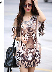 Damen Druck / Tierfell-Druck Einfach / Street Schick Lässig/Alltäglich T-shirt,Rundhalsausschnitt Sommer Kurzarm Mehrfarbig Seide Dünn