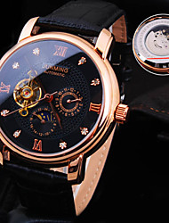 Men's New Round Rome Number Diamond Dial Mineral Glass Mirror Genuine Leather Band Waterproof Mechanical Watch Wrist Watch Cool Watch Unique Watch