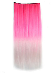 Double Color Straight Synthetic Thick Hair Extensions Clip-on Hair