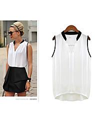 LivsWomen's Casual/Work Shirt Collar Sleeveless T-Shirts (Chiffon/Lace/Others/Silk)