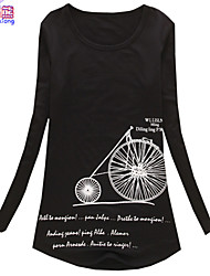 Waboats Women Long Sleeve Bicycle Printed Slim Tunic Shirt