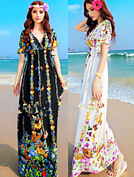 Tracy Women's Beach/Print V-Neck Short Sleeve Dresses (Polyester)