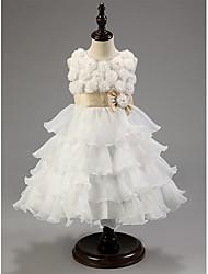 Flower Girl Dress - Longueur mollet Princesse - Col bateau ( Satin/Tulle )