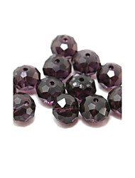 Beadia 80PCS Glass Facetted Crystal Beads 8x10mm Flat Round Shape Purple Color DIY Spacer Loose Beads