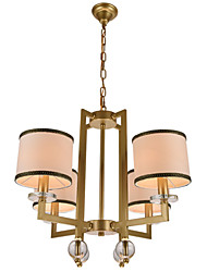 Contemporary Contracted Creative Crystal Chandeliers 4 Lights with  Height Adjustable Metal