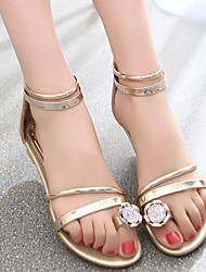Women's Shoes Wedge Heel Comfort Rhinestone Sandals Dress/Casual Silver/Gold