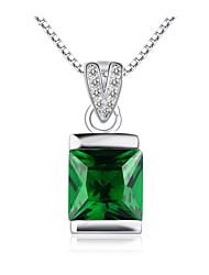 jazlyn® platina autêntico colar banhado a 925 libras esterlinas bola cadeia de caixa de 1 milímetro de cristal esmeralda prata das