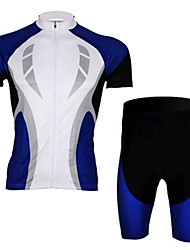 Blue And White Short Sleeved Jersey Suit, Moisture Cycling Wear, Motor Function Material