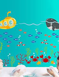 pegatinas de pared de la pared de estilo calcomanías pegatinas de dibujos animados lindo submarino marino ballena pvc