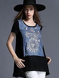 Women Loose Plus Size Embroidery Lace Denim Patchwork Chiffon Short Sleeve Medium Long Blouse Shirt Tops