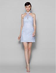 Short/Mini Lace Bridesmaid Dress - Lavender Plus Sizes / Petite Sheath/Column Halter