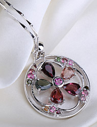 Natural Brazil Tourmaline Round Ring Shape Flower Pendant S925 Sterling Silver Seeds Chain Necklace