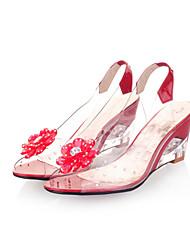 Damen-Sandalen-Kleid-Kunstleder-Keilabsatz-Sandalen-Schwarz / Blau / Gelb / Rot / Weiß
