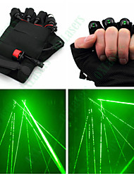 OXLasers Green 4 Lasers Gloves for Laserman DJ Show with Led Palm Light(5mw,532nm,1*18650)