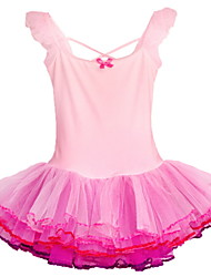 Children Girls Pink Fairy Princess Ballet Gymnastic Sleeveless Leotard Dancewear/Skate Performance Tutu Dress for 3-8Y
