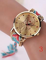 New Fashion Quartz Watch Woven Fabric Gold Chain Bracelet Watch Women Nation Style Women Watches Ladies Wristwatch