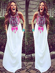 Women's Print White Dresses , Print Round Sleeveless