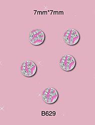 B629 7mm*7mm 10pcs/pack Silver Pink Round Alloy 3D Nail Jewelry Tiny Clear Glitter Rhinestones Decoration DIY