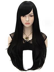 70cm style natürliche gerade Mode Frauen-Parteiperücken Hitze wider synhtetic Cosplay Perücke schwarz