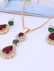 Fashion Women Party Alloy Cubic Zirconia 18K Gold Plated Necklaces Earrings Sets