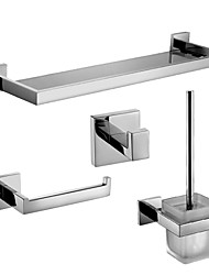 Badezimmer Zubehörset/Klosettpapierrollehalter/Robehaken/Glasablage/Toilettenbürstehalter Zeitgenössisch - Wand befestigend