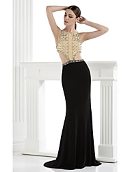 Formal Evening Dress - Sexy Trumpet / Mermaid Spaghetti Straps Floor-length Spandex with Beading Crystal Detailing