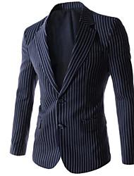 Masculino Blazer Casual Listrado Manga Comprida Algodão / Poliéster Preto / Azul / Cinza